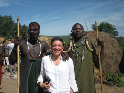 A volunteer with two traditional Ethiopian men