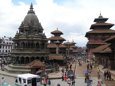 Scenery from Nepal featuring traditional buildings